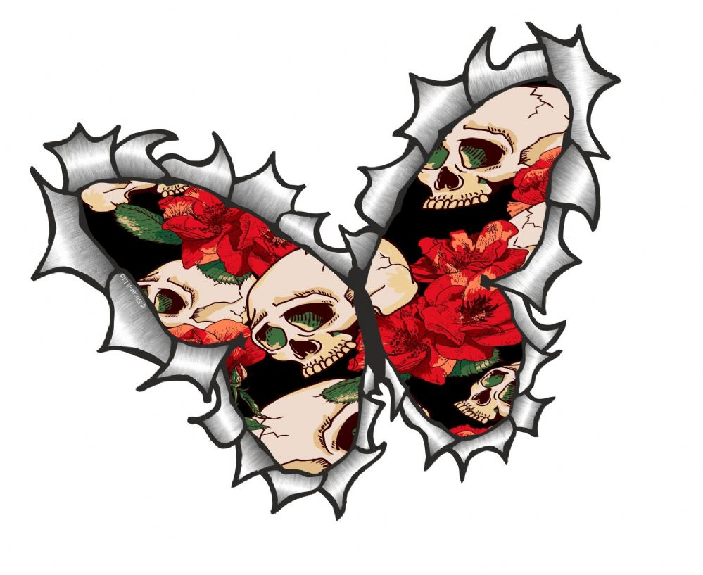 Ripped Torn Metal Butterfly Design With Tattoo Style Skull